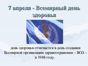7 апреля - Всемирный день здоровья день здоровья отмечается в день создания В