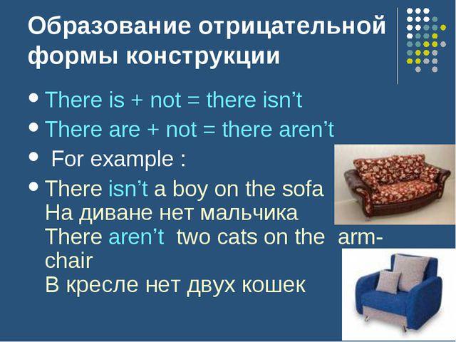 Образование отрицательной формы конструкции There is + not = there isn't Ther...