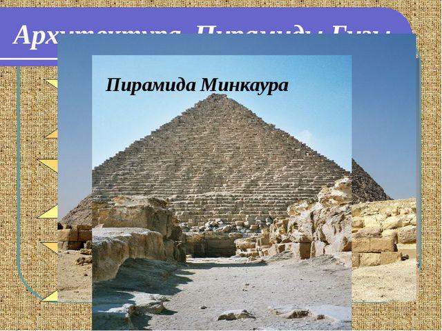 Архитектура. Пирамиды Гизы Пирамида Хефрена Пирамида Хеопса Пирамида Минкаура