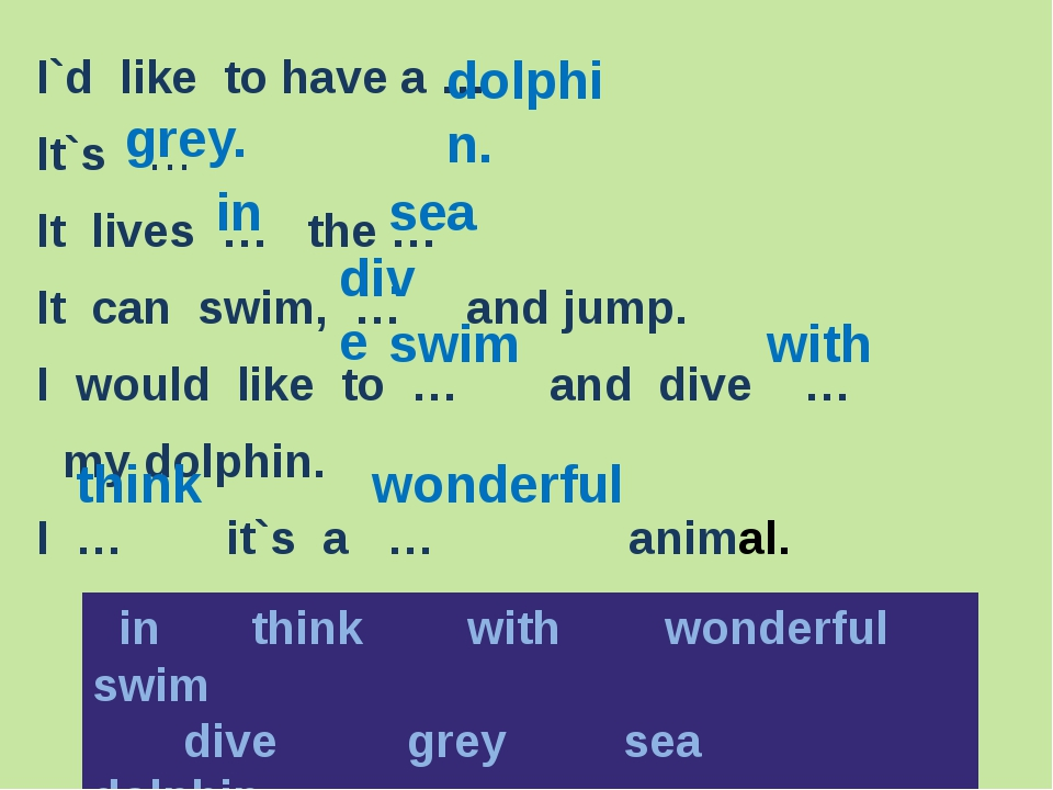 I`d like to have a … It`s … It lives … the … It can swim, … and jump. I woul...