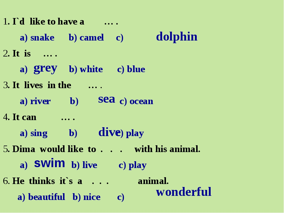 1. I`d like to have a … . a) snake b) camel c) 2. It is … . a) b) white c) b...