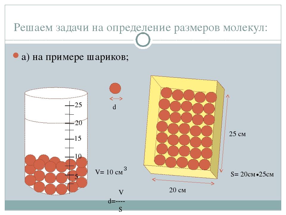 Решаем задачи на определение размеров молекул: а) на примере шариков; 5 15 20...