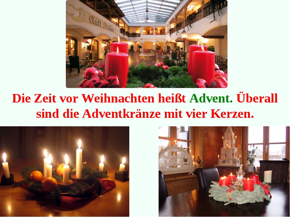 Die Zeit vor Weihnachten heißt Advent. Überall sind die Adventkränze mit vier...