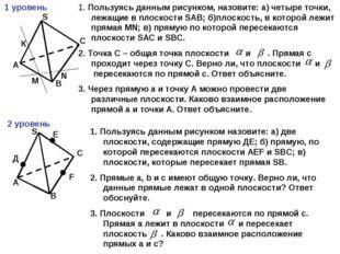 1 уровень А В С S К М N 1. Пользуясь данным рисунком, назовите: а) четыре точ
