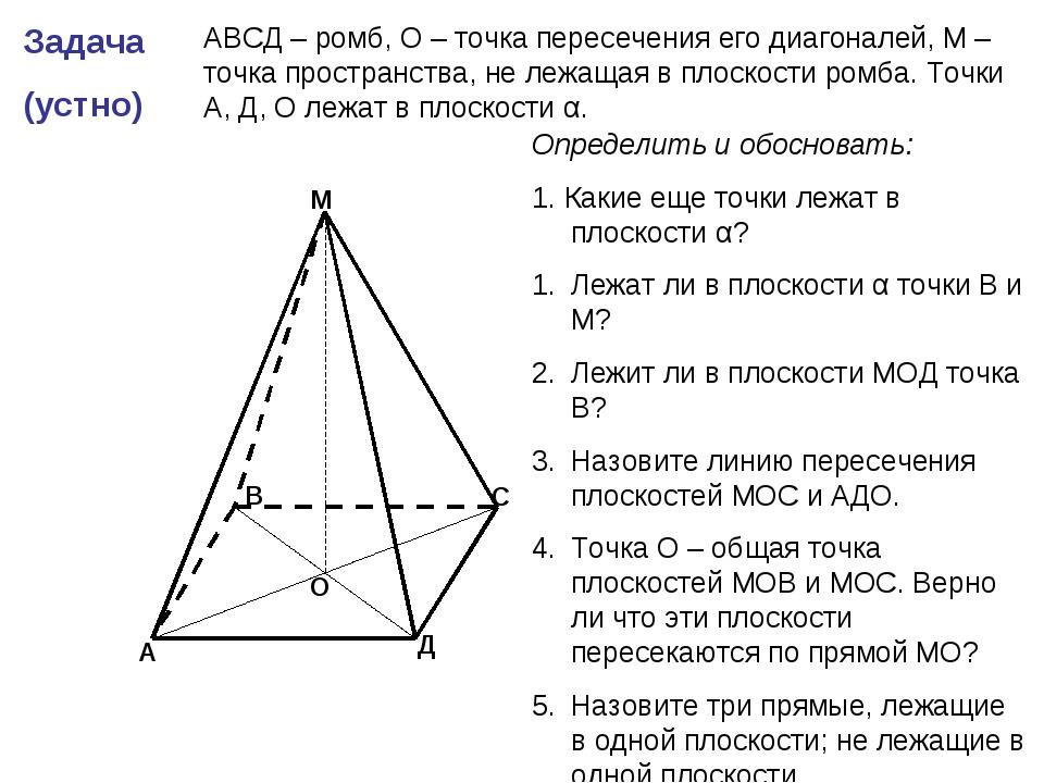 Задача (устно) А В С Д М О АВСД – ромб, О – точка пересечения его диагоналей,...