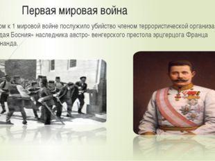 Первая мировая война Поводом к 1 мировой войне послужило убийство членом тер