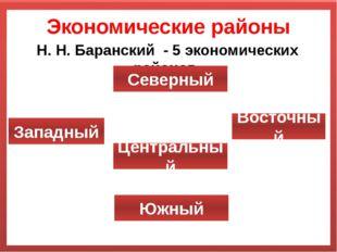 Экономические районы Н. Н. Баранский - 5 экономических районов. Восточный Зап