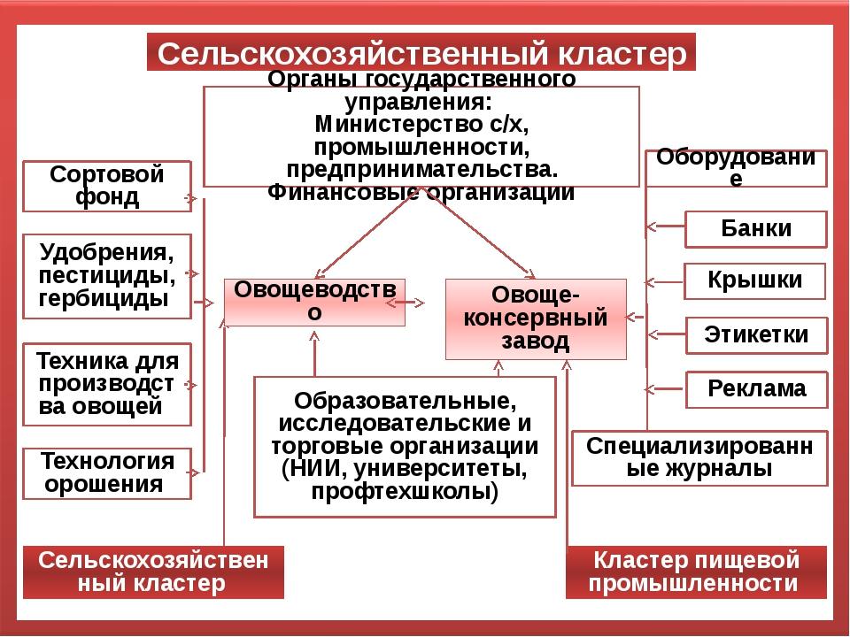 Сельскохозяйственный кластер Органы государственного управления: Министерство...