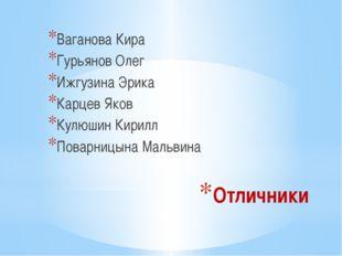 Отличники Ваганова Кира Гурьянов Олег Ижгузина Эрика Карцев Яков Кулюшин Кири