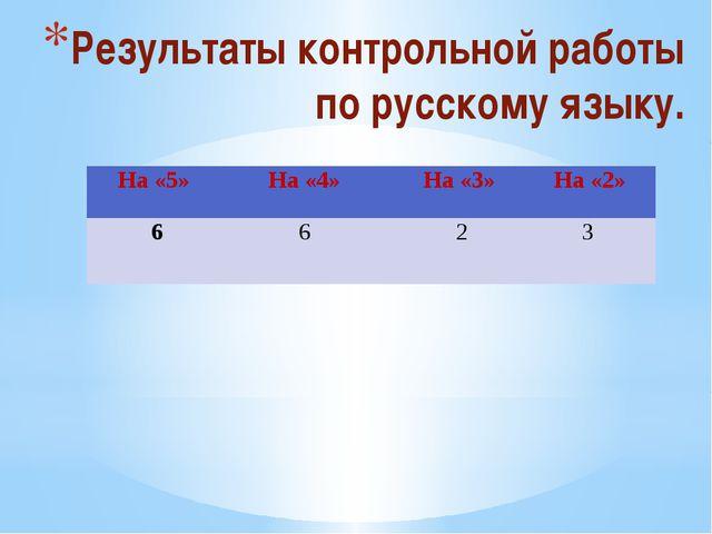 Результаты контрольной работы по русскому языку. На «5» На «4» На «3» На «2»...