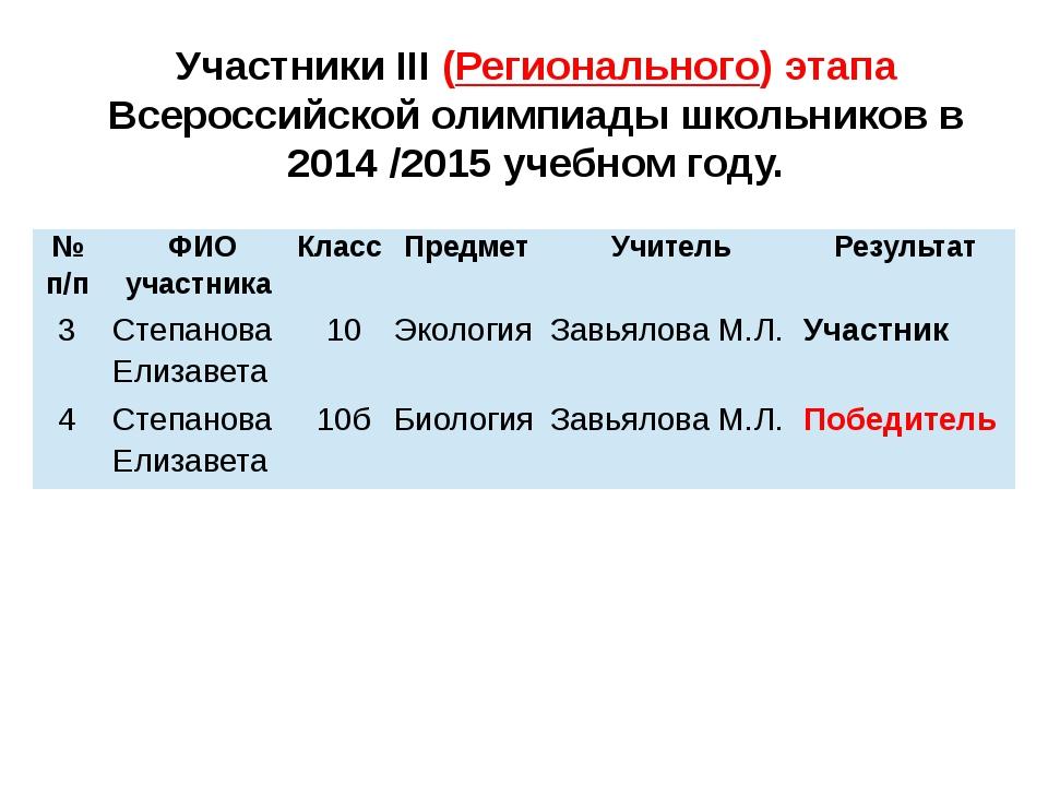 Участники III (Регионального) этапа Всероссийской олимпиады школьников в 2014...