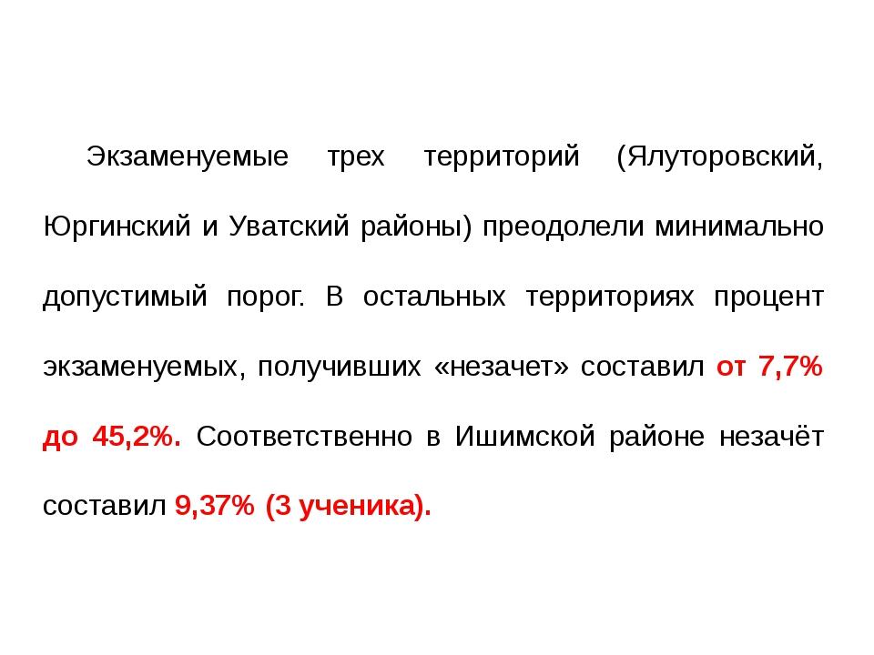 Экзаменуемые трех территорий (Ялуторовский, Юргинский и Уватский районы) прео...