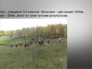 3 группа – учащиеся 3,4 классов. Мальчики – дистанция 1000м., девочки – 500м.