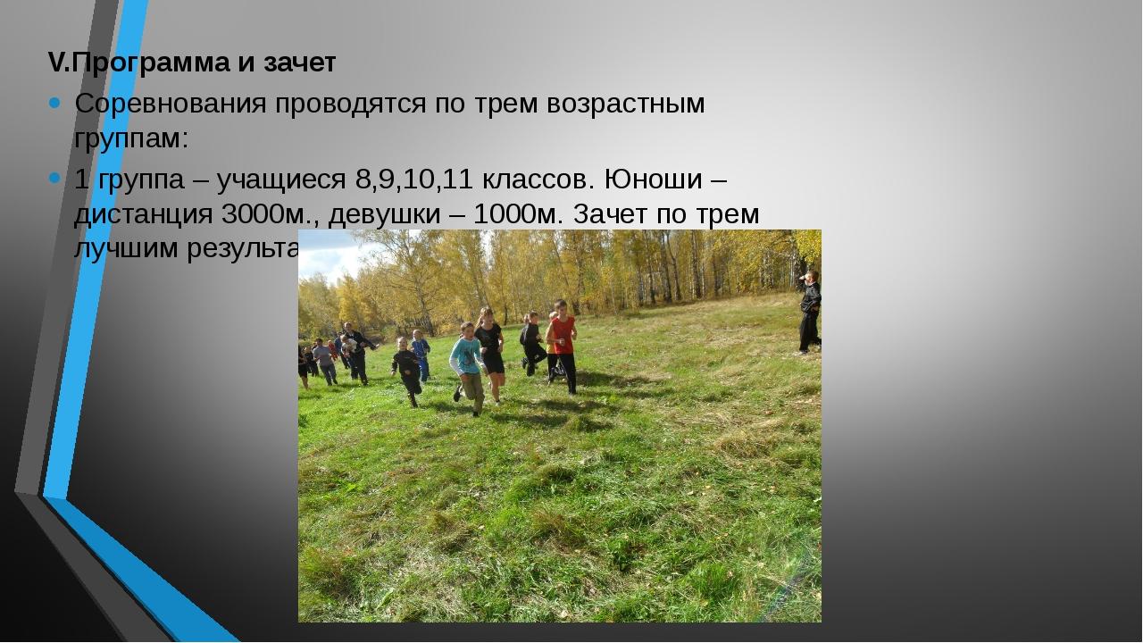 V.Программа и зачет Соревнования проводятся по трем возрастным группам: 1 гру...
