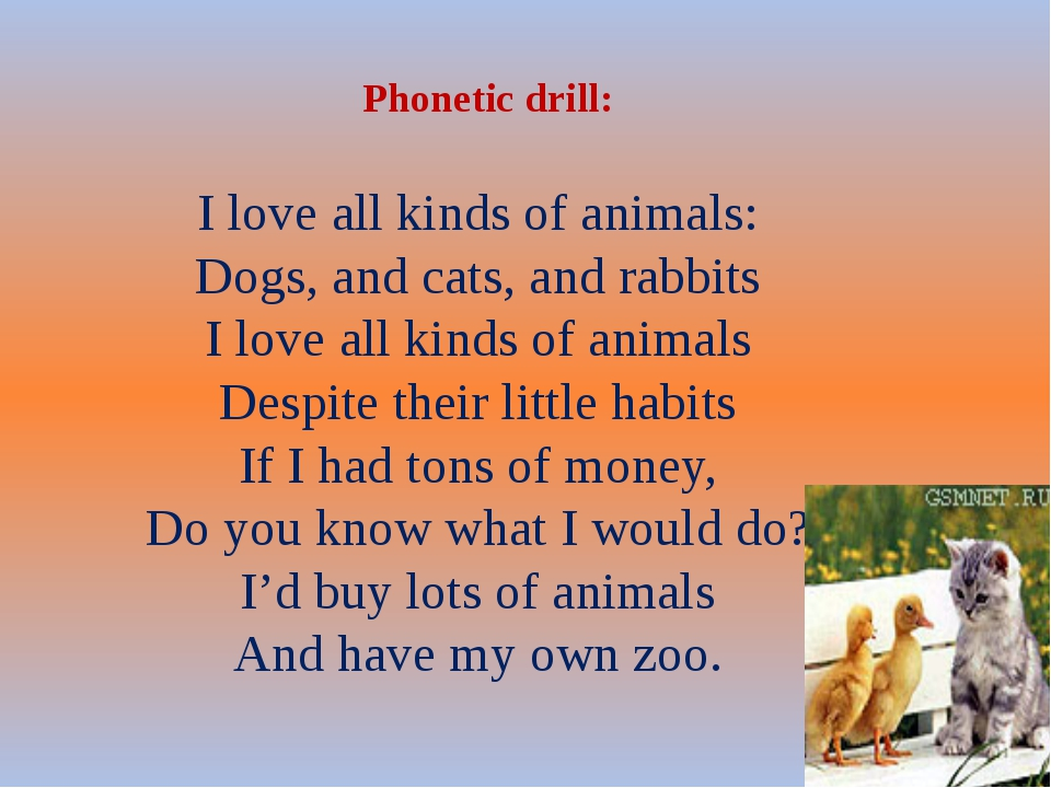 Phonetic drill: I love all kinds of animals: Dogs, and cats, and rabbits I l...