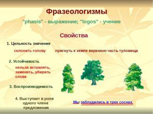 """Фразеологизмы """"phasis"""" - выражение; """"logos"""" - учение Свойства 1. Цельность з"""