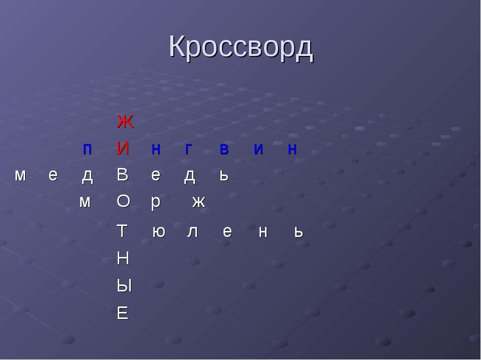 Кроссворд мОрж