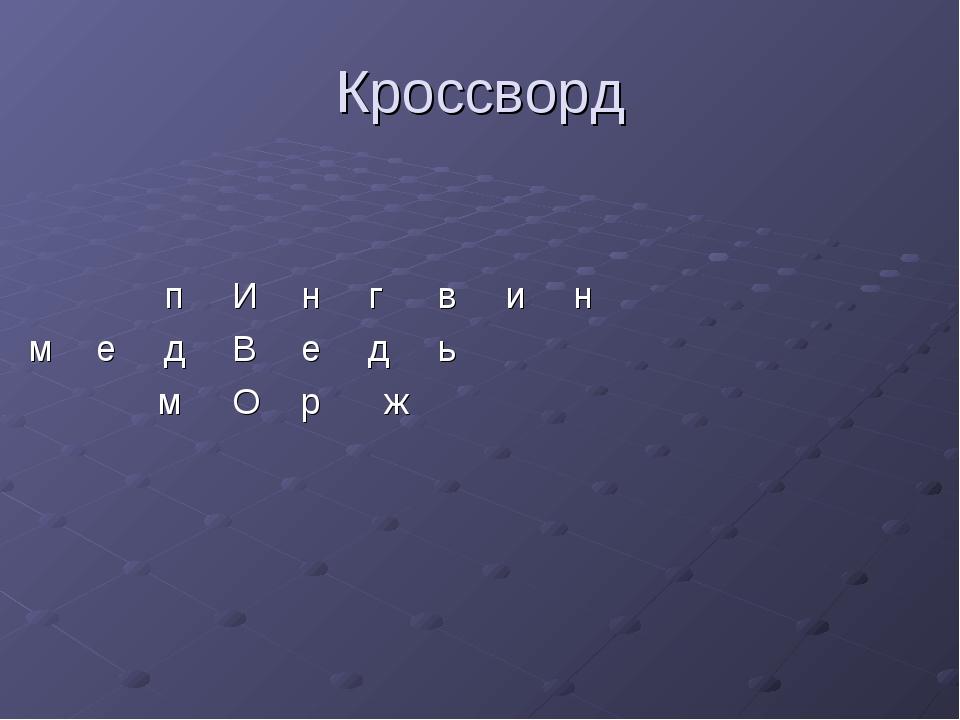 Кроссворд пИнгвин медВедь  мОрж