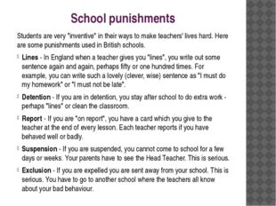 "School punishments Students are very ""inventive"" in their ways to make teache"