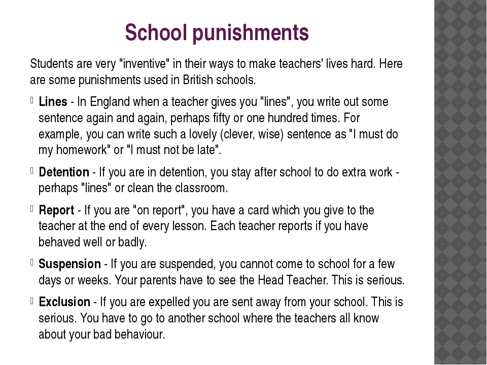"School punishments Students are very ""inventive"" in their ways to make teache..."