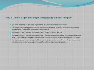 Глава 2. Основные проблемы защиты авторских прав в сети Интернет. Их можно по
