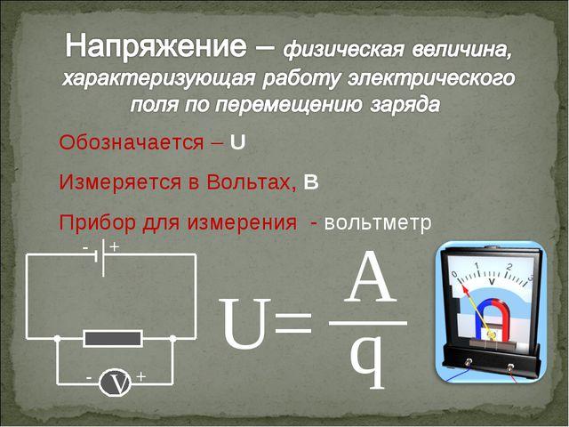 Обозначается – U Измеряется в Вольтах, В Прибор для измерения - вольтметр