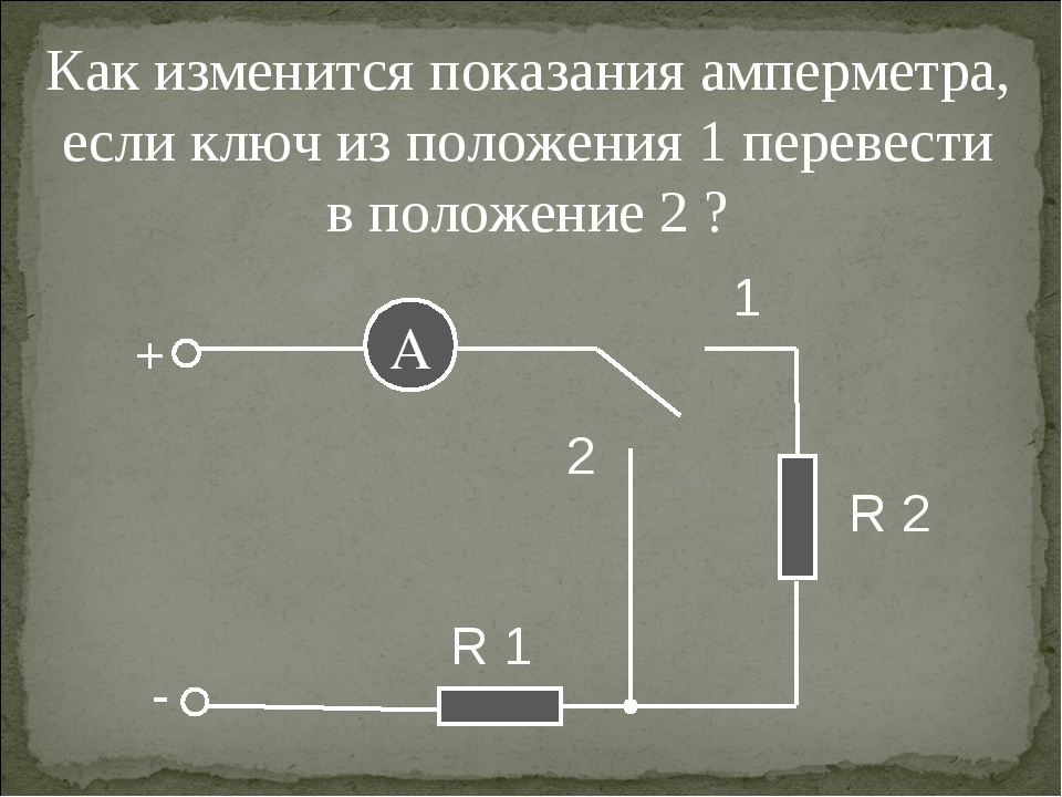 Как изменится показания амперметра, если ключ из положения 1 перевести в поло...