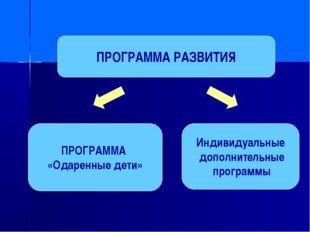ПРОГРАММА РАЗВИТИЯ ПРОГРАММА «Одаренные дети» Индивидуальные дополнительные п