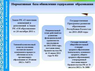 Нормативная база обновления содержания образования Закон РК «О внесении измен