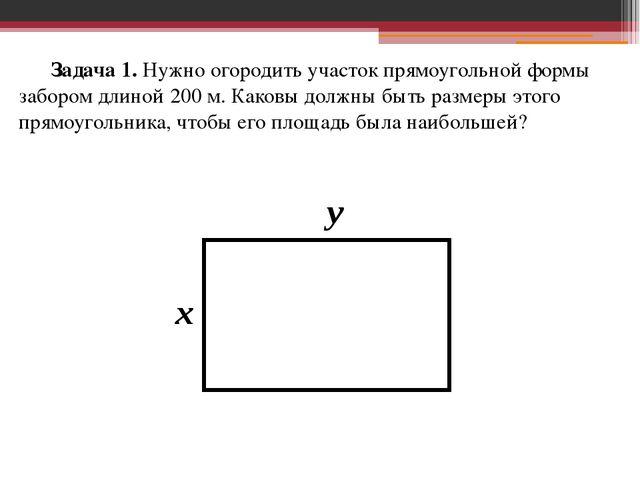 Задача 1. Нужно огородить участок прямоугольной формы забором длиной 200 м....