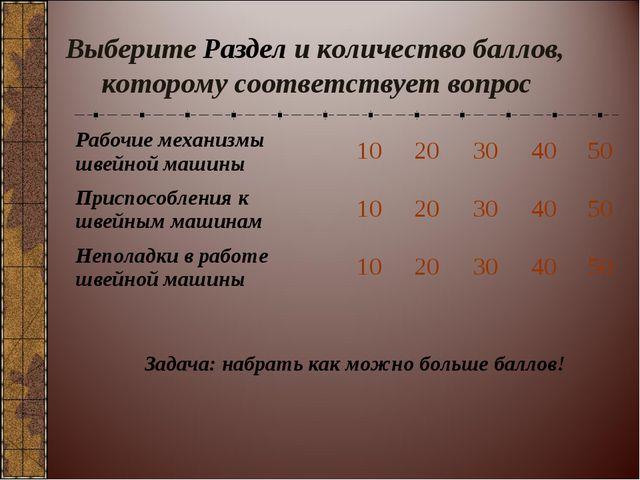Выберите Раздел и количество баллов, которому соответствует вопрос Задача: на...
