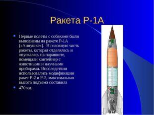 Ракета Р-1А Первые полеты с собаками были выполнены на ракете Р-1А («Аннушке»