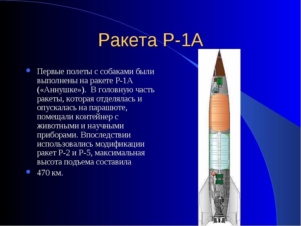 Ракета Р-1А Первые полеты с собаками были выполнены на ракете Р-1А («Аннушке»...