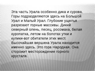 Эта часть Урала особенно дика и сурова. Горы подразделяются здесь на Большой