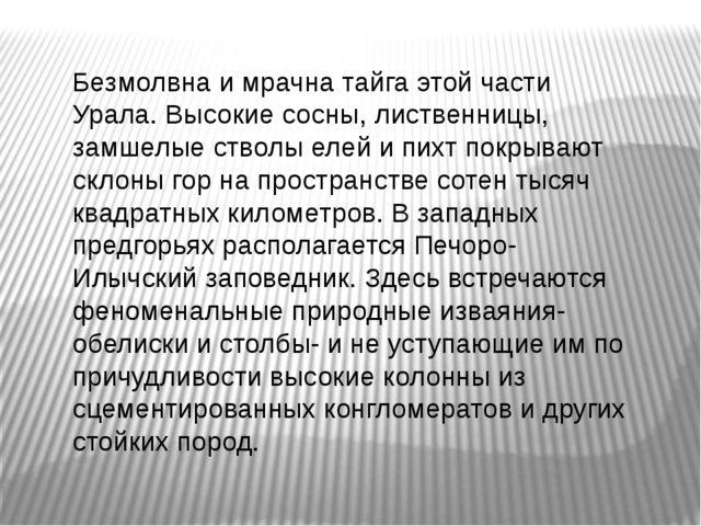 Безмолвна и мрачна тайга этой части Урала. Высокие сосны, лиственницы, замшел...