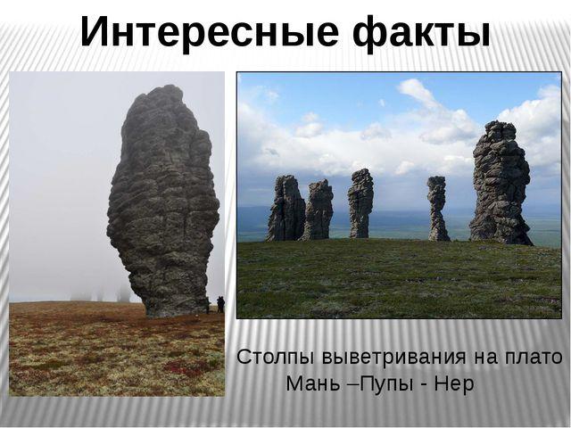 Интересные факты Столпы выветривания на плато Мань –Пупы - Нер