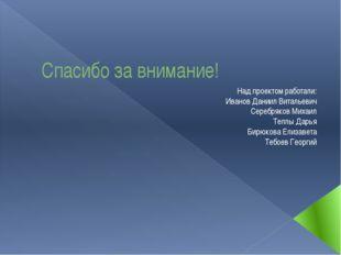 Спасибо за внимание! Над проектом работали: Иванов Даниил Витальевич Серебряк