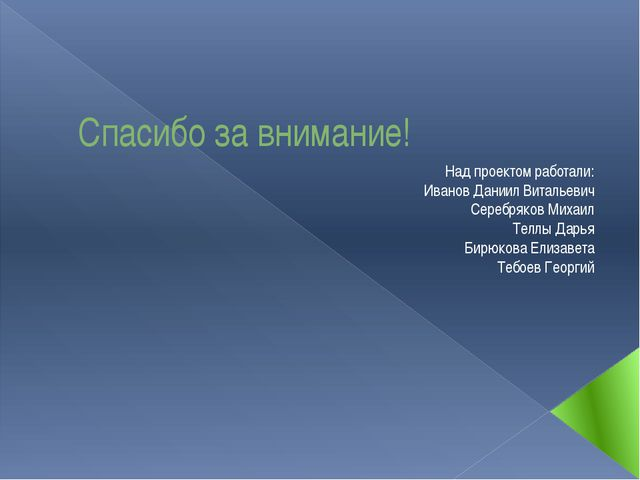 Спасибо за внимание! Над проектом работали: Иванов Даниил Витальевич Серебряк...