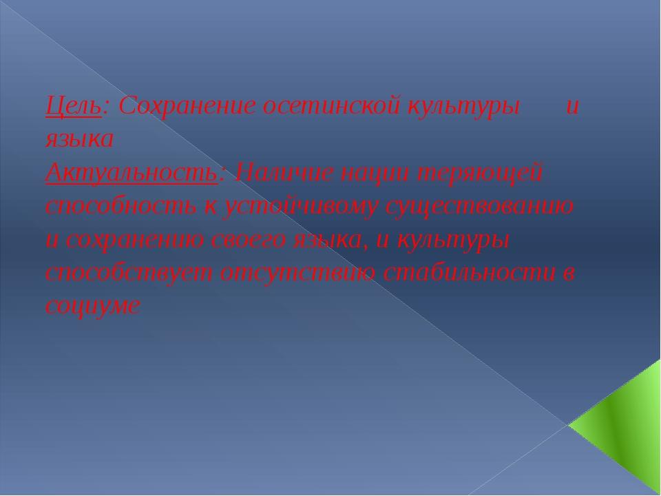 Цель: Сохранение осетинской культуры  и языка Актуальность: Наличие нации т...