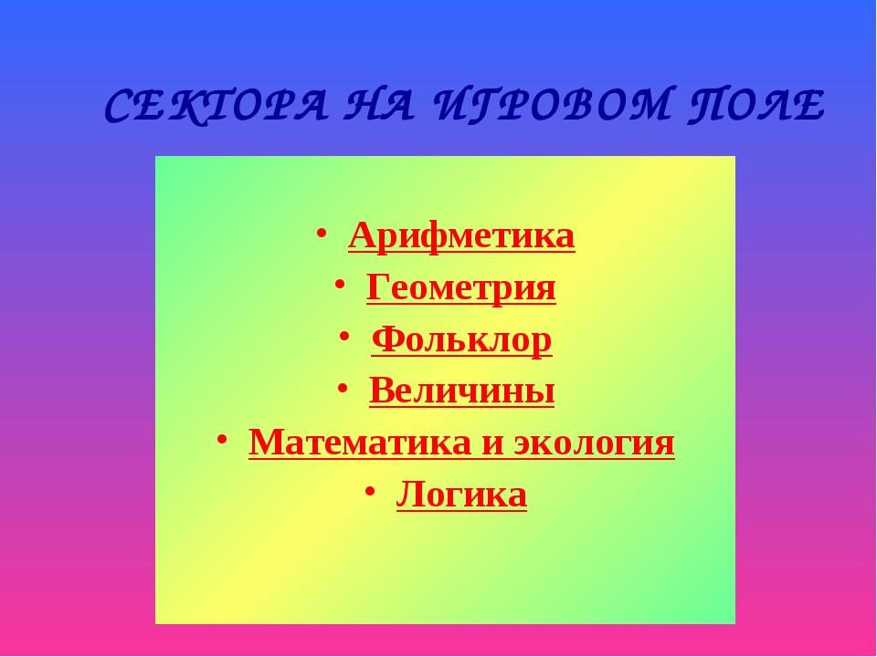 СЕКТОРА НА ИГРОВОМ ПОЛЕ Арифметика Геометрия Фольклор Величины Математика и э...