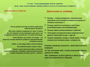 8 этап - Этап подведения итогов занятия цель: дать качественную оценку работы