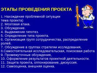 ЭТАПЫ ПРОВЕДЕНИЯ ПРОЕКТА 1. Нахождение проблемной ситуации тема проекта) 2.