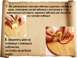 7. Из центрально сектора яблока сделать голову и шею, повторяя изгиб яблока
