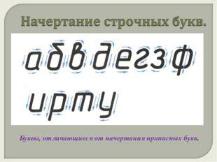 Буквы, отличающиеся от начертания прописных букв.