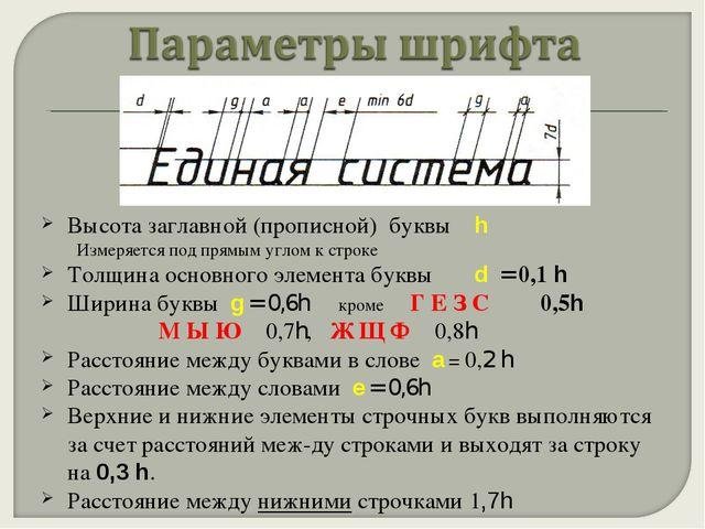 Высота заглавной (прописной) буквы h Измеряется под прямым углом к строке Тол...