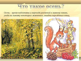 Осень – время подготовки и перехода растений к зимнему покою, ухода на зимовк
