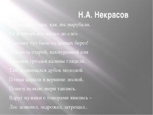 Н.А. Некрасов …Плакала Саша, как лес вырубали, Ей и теперь его жалко до слез