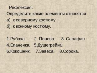 Рефлексия. Определите какие элементы относятся а) к северному костюму, б) к