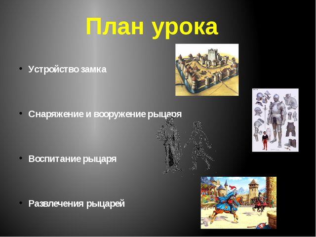 Устройство замка Снаряжение и вооружение рыцаря Воспитание рыцаря Развлечения...