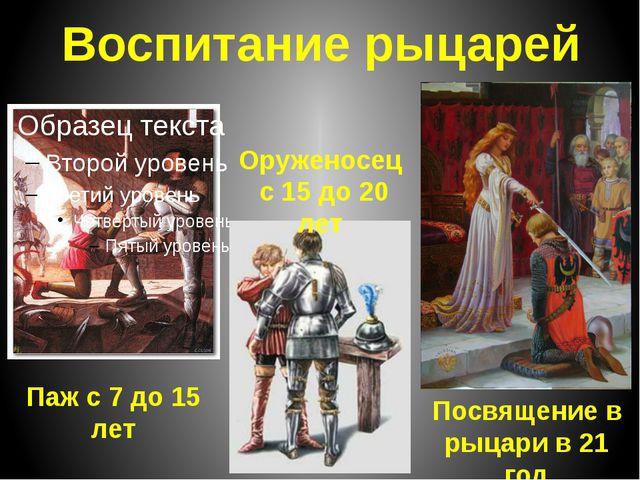 Воспитание рыцарей Паж с 7 до 15 лет Оруженосец с 15 до 20 лет Посвящение в р...